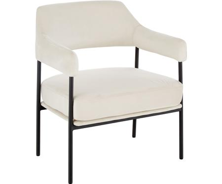 Fluwelen lounge fauteuil Zoe in wit