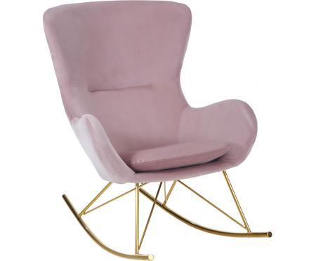 Fluwelen schommelstoel Wing in roze
