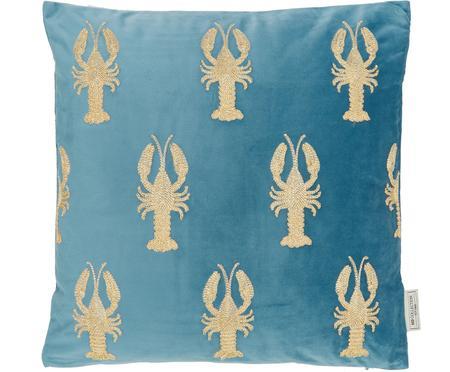 Geborduurd fluwelen kussen Lobster, met vulling