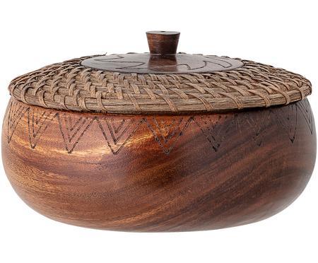 Grote schaal Femke van acaciahout met deksel, Ø 24cm