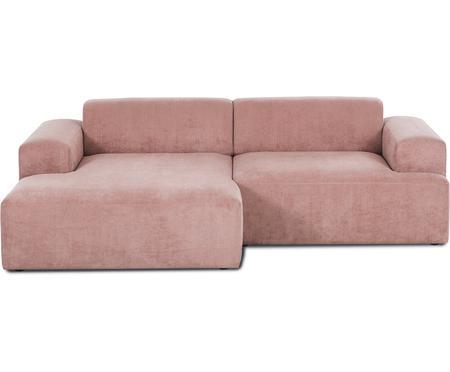 Corduroyhoekbank Melva (3-zits) in roze
