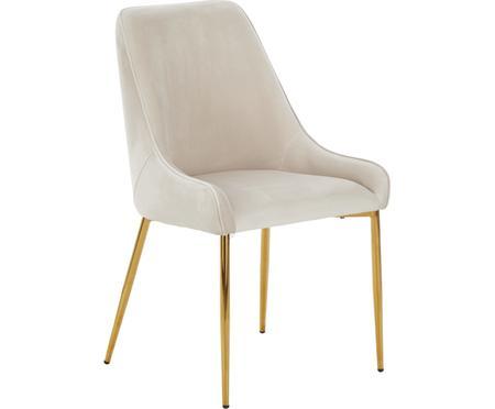 Fluwelen stoel Ava met goudkleurige poten